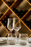 Restaurant table. With dish, glasses and cutlery Royalty Free Stock Image