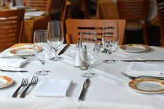 Restaurant Table. This is a picture of a table in a restaurant just before open of business Stock Photography