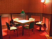 Restaurant table. A table with four chairs in a restaurant Royalty Free Stock Photography