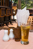 Restaurant table with beer Royalty Free Stock Photos