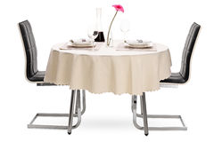 Restaurant table with a bottle of wine Stock Photography
