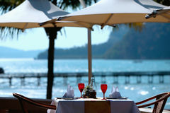 Restaurant Table By The Sea Stock Photos