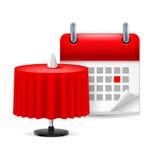 Restaurant table and calendar stock illustration