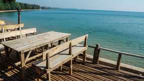 Restaurant table. In front of the sea Stock Image