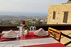 Restaurant Table with Great Scenic. Romantic Restaurant Table with Great Scenic Background Royalty Free Stock Images