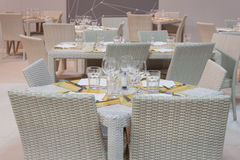 Restaurant table at HOMI, home international show in Milan, Italy Royalty Free Stock Photography