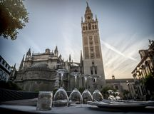 Restaurant table near the cathedral of Seville Royalty Free Stock Photos