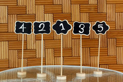 Restaurant table number sign Royalty Free Stock Photo