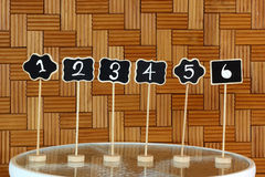 Restaurant table number sign Stock Photos