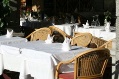 Restaurant table outdoors Royalty Free Stock Photography