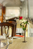 Restaurant table with rose. Restaurant table arrangement with rose decoration Stock Images