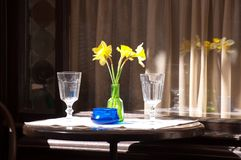 Restaurant table seen through a glass window Royalty Free Stock Photos