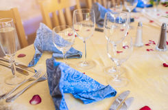 Restaurant Table Served for Wedding Royalty Free Stock Photos