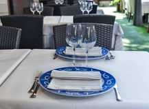 Restaurant table set exterior summer day Stock Images