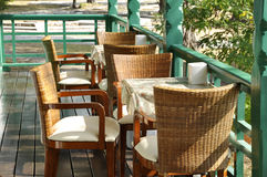 Restaurant Table Set Rattan Wood Stock Photo