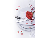 Restaurant table set for Valentines with a rose Stock Images