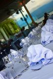 Restaurant table setting. Table setting at restaurant patio Royalty Free Stock Photography