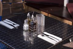 Restaurant table setting Royalty Free Stock Photo