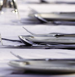Restaurant Table Setting. Fine dining cutlery setting in a luxury restaurant Stock Images