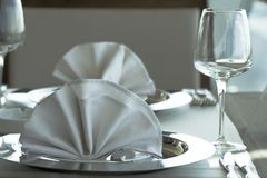 Restaurant table setting. A restaurant table setting closeup Stock Photography