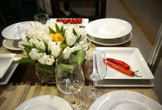 Restaurant table setting Royalty Free Stock Images