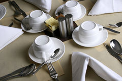 Restaurant table setting. Table setting at a restaurant Stock Photo