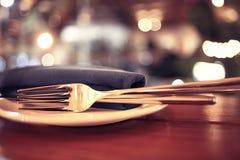 Restaurant table setting Royalty Free Stock Photos