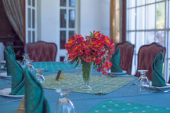 Restaurant. Table setting in a restaurant in Nuwara Eliya Royalty Free Stock Photography