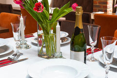 Restaurant table setting. Royalty Free Stock Photo