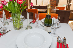 Restaurant table setting. Stock Images