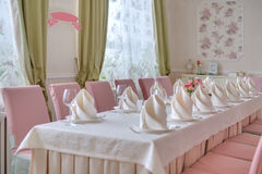 Restaurant table setting in the wedding style Royalty Free Stock Photo