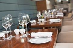 Restaurant table setup Stock Images