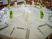 Restaurant table setup Royalty Free Stock Images