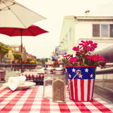 Restaurant table in street in San Francisco, California, USA. Retro filter effect. Stock Photo