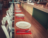 Restaurant with table and tableware Royalty Free Stock Photo