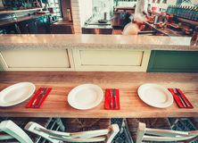 Restaurant with table and tableware Royalty Free Stock Photos