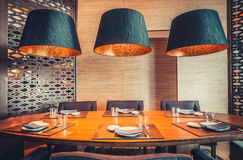 Restaurant with table and tableware Royalty Free Stock Image