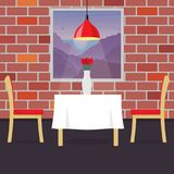 Restaurant table with two chairs and vase with flowers. Table in cosy restaurant, a hanging lamp above it. Vector illustration in. Flat style Stock Photography