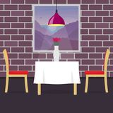 Restaurant table with two chairs and vase with flowers. Table in cosy restaurant, a hanging lamp above it. Vector illustration in. Flat style Stock Photos