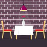Restaurant table with two chairs and vase with flowers. Table in cosy restaurant, a hanging lamp above it. Vector illustration in. Flat style Royalty Free Stock Images