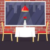 Restaurant table with two chairs and vase with flowers. Table in cosy restaurant, a hanging lamp above it. Vector illustration in. Flat style Royalty Free Stock Photo