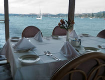 Restaurant table with view Royalty Free Stock Photography