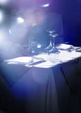 Restaurant table waiting for guests. Stylish restaurant table with glasses and cutlery waiting for guests royalty free stock photography