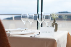 Restaurant table by the window Stock Image