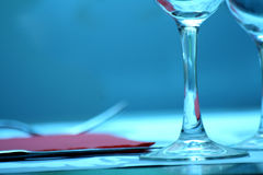 Restaurant table wine and water glass knife fork Royalty Free Stock Images