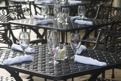 Restaurant tables. Outdoor setting in one of restaurants Stock Photo