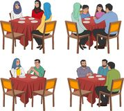 Restaurant tables with arab people. Wearing traditional clothes Stock Photo