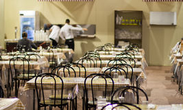 Restaurant tables at the craft fair in Milan Royalty Free Stock Photos