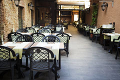 Restaurant tables in the open air Stock Photo