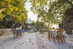 Restaurant tables outdoors Stock Image